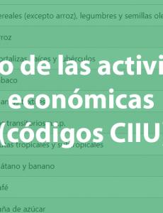 Listado de las actividades económicas (códigos CIIU)