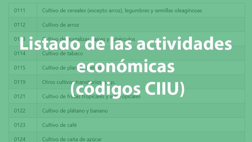 Listado de las actividades económicas (códigos CIIU) 3