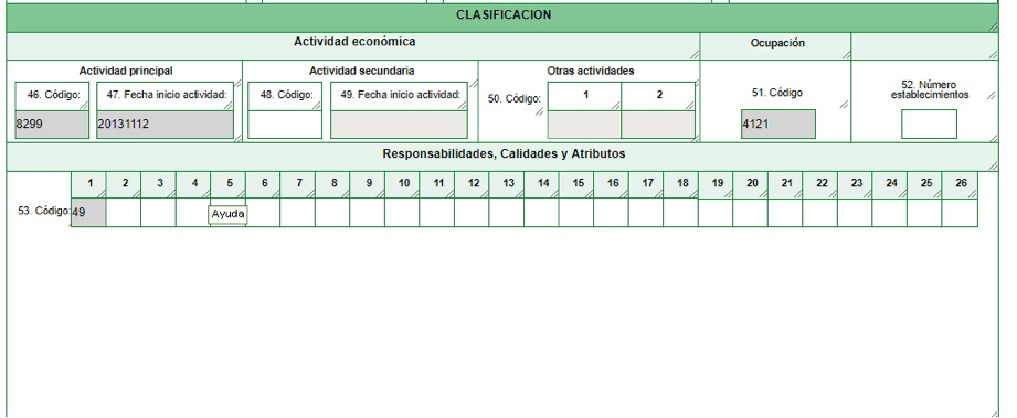 Cómo rellenar la clasificación en el formulario del RUT