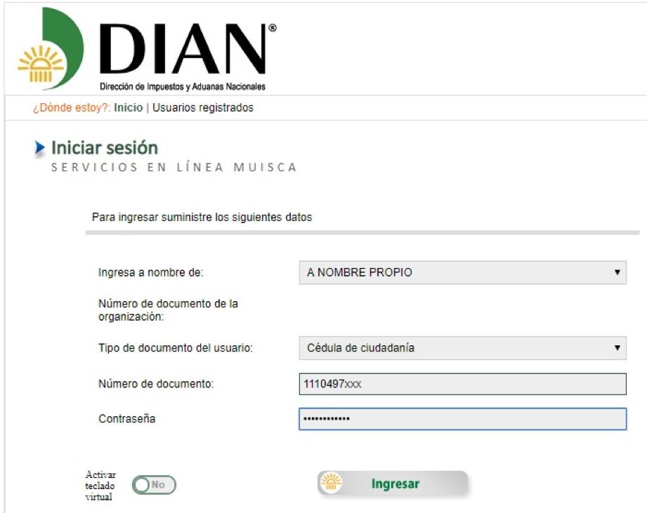 Formulario de acceso a la DIAN
