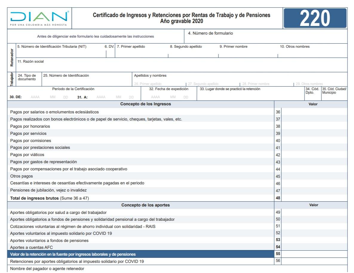 Formulario 220 ingresos y retenciones año gravable 2020 para diligenciar en 2021