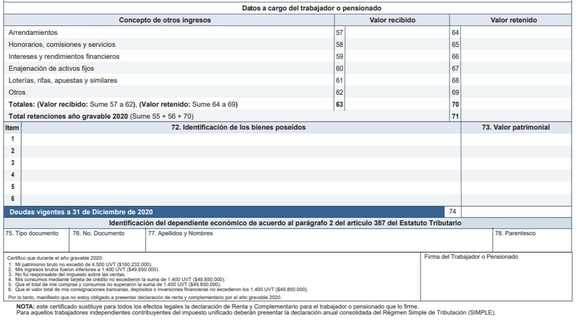 certificado 220 ingresos y retenciones año gravable 2020 para diligenciar en 2021