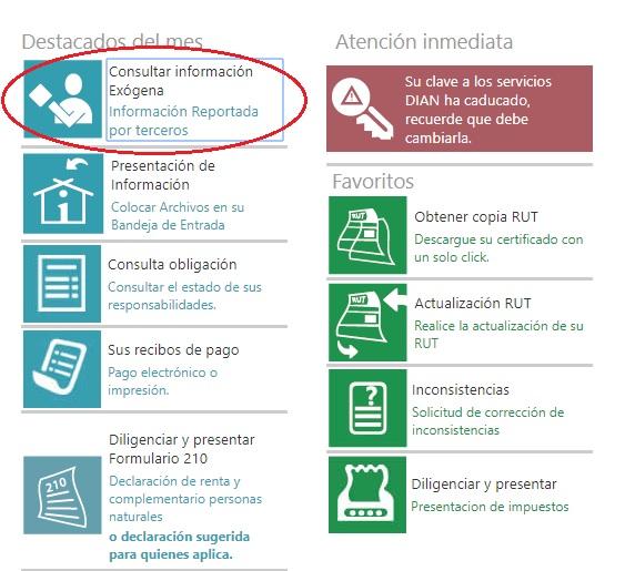 Consultar reporte de terceros para la declaración de renta 1
