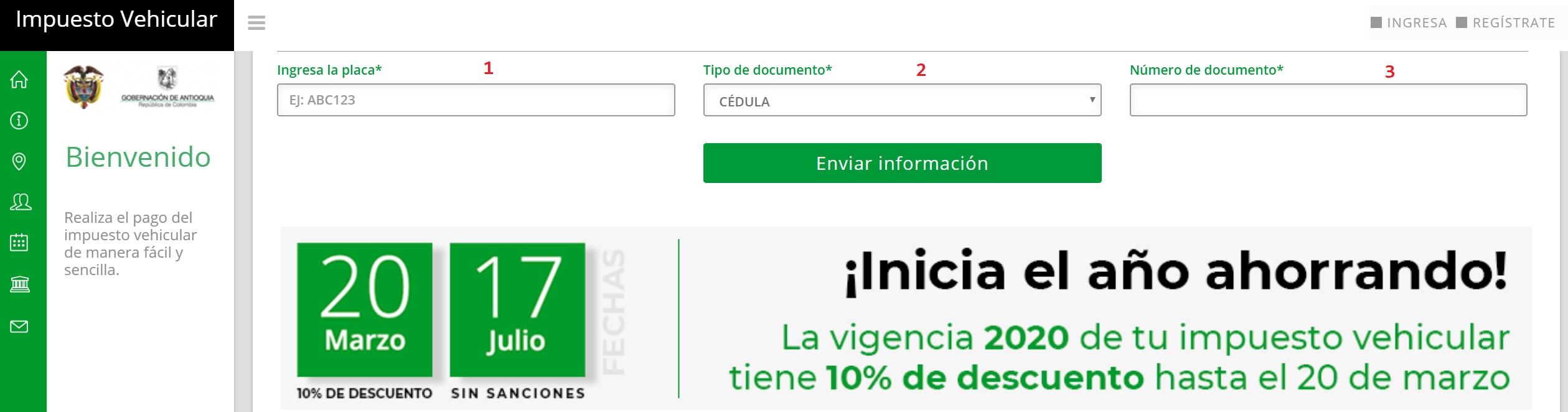 Impuesto de vehículos de Antioquia