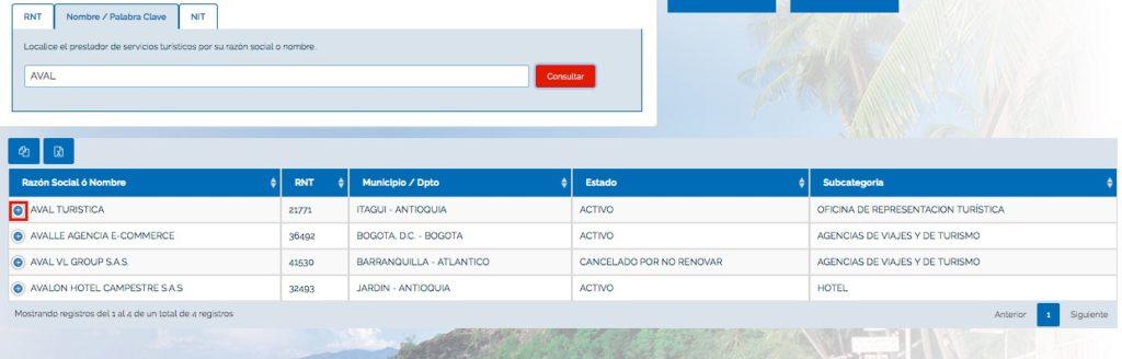 Consultas en el Registro Nacional de Turismo (RNT) 2