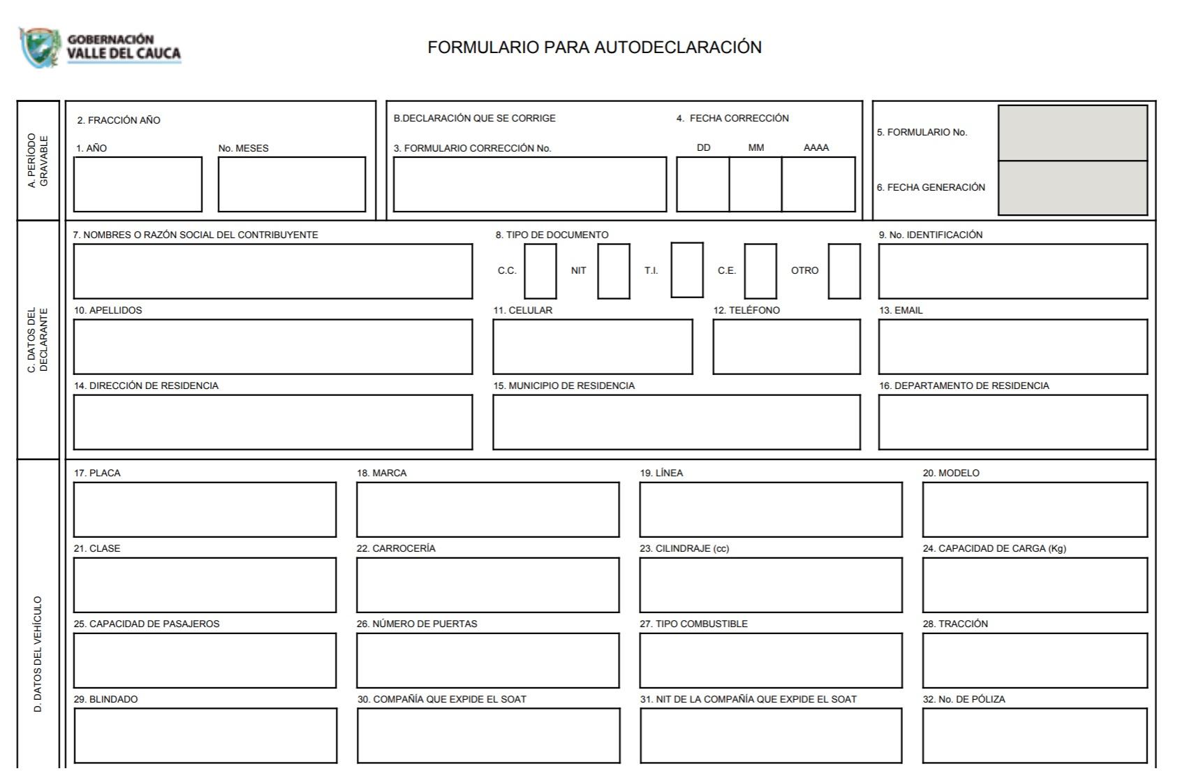formulario liquidacion de impuesto vehicular cali