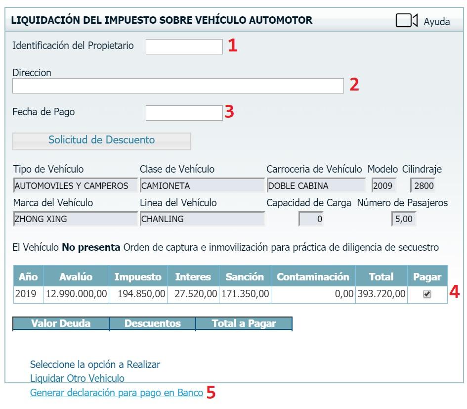 liquidacion impuesto vehicular en bolivar