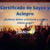 Certificado de Sayco y Acinpro