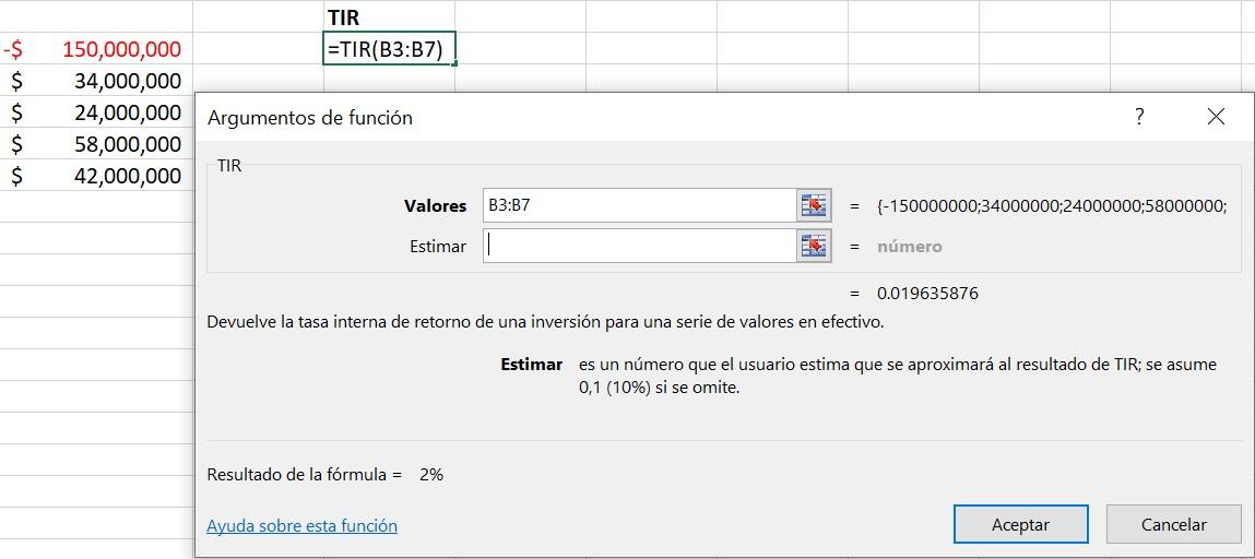 calcular la TIR en Excel