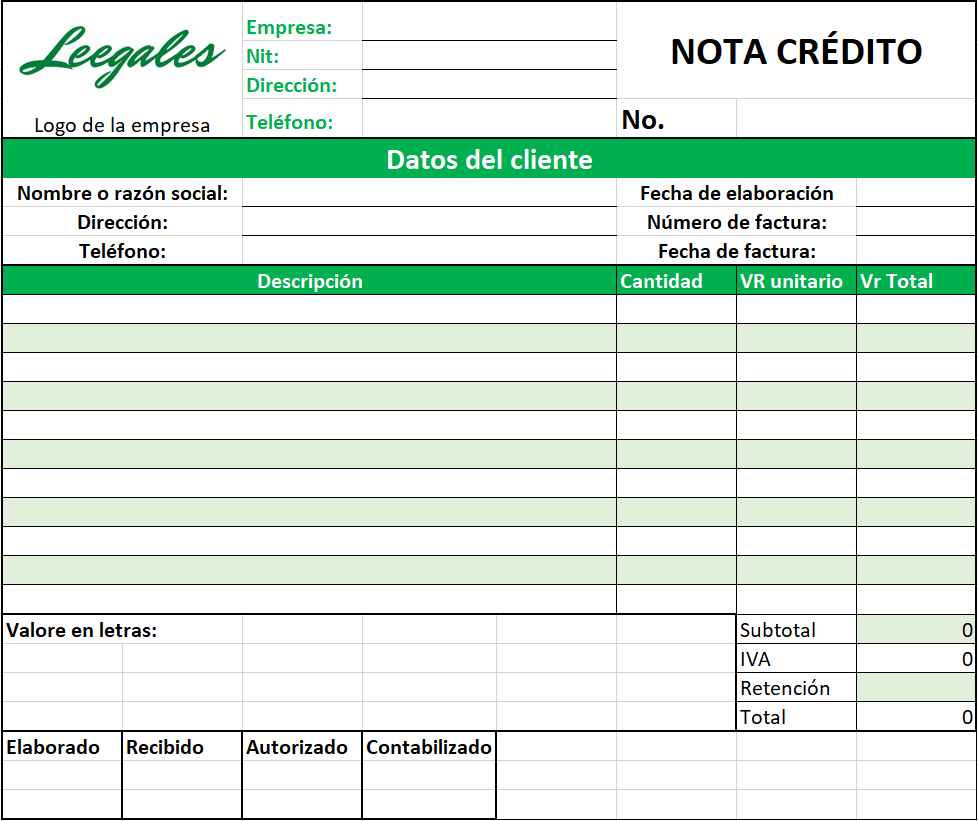 formato nota credito