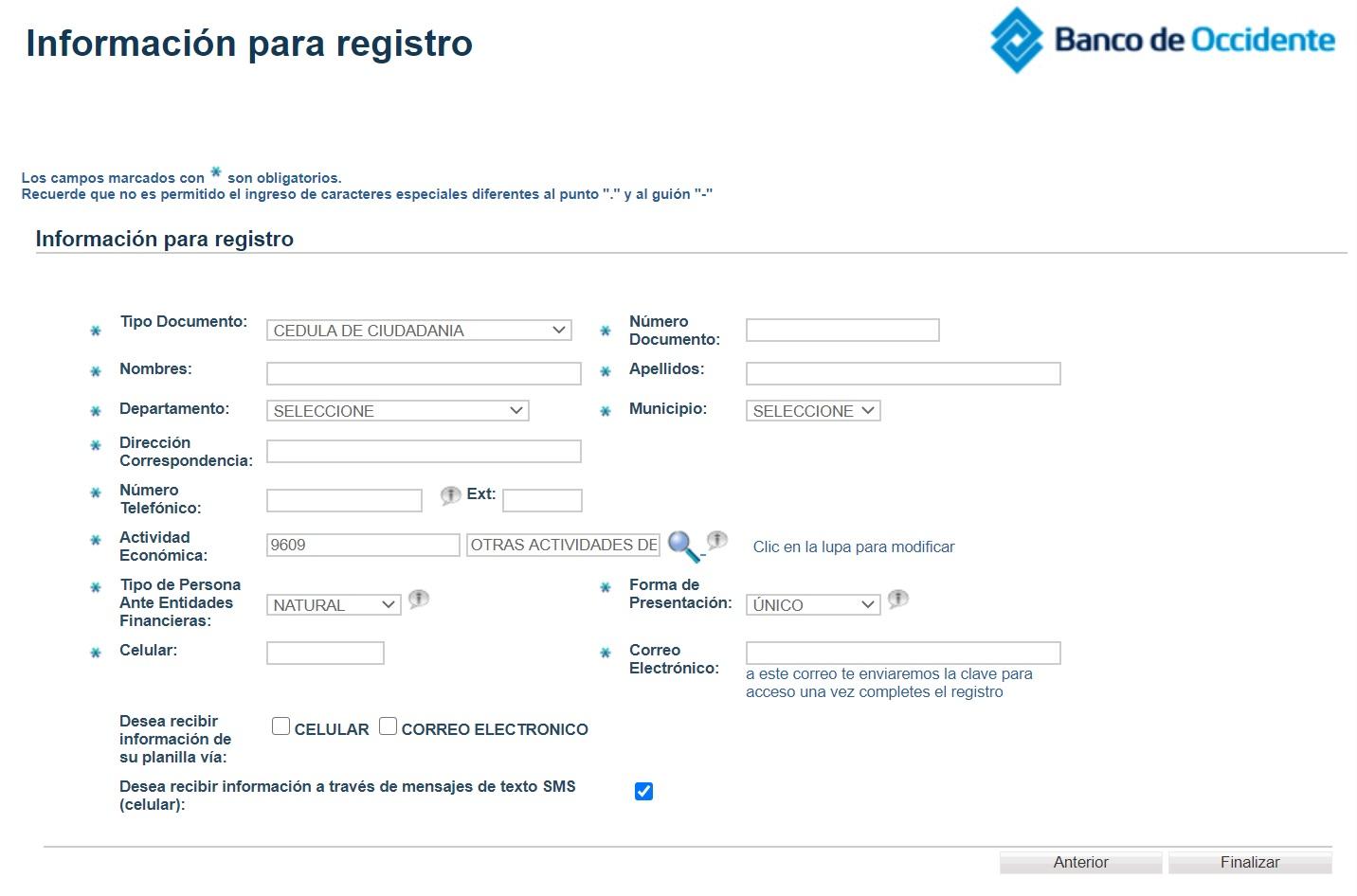 formulario de registro en SOI