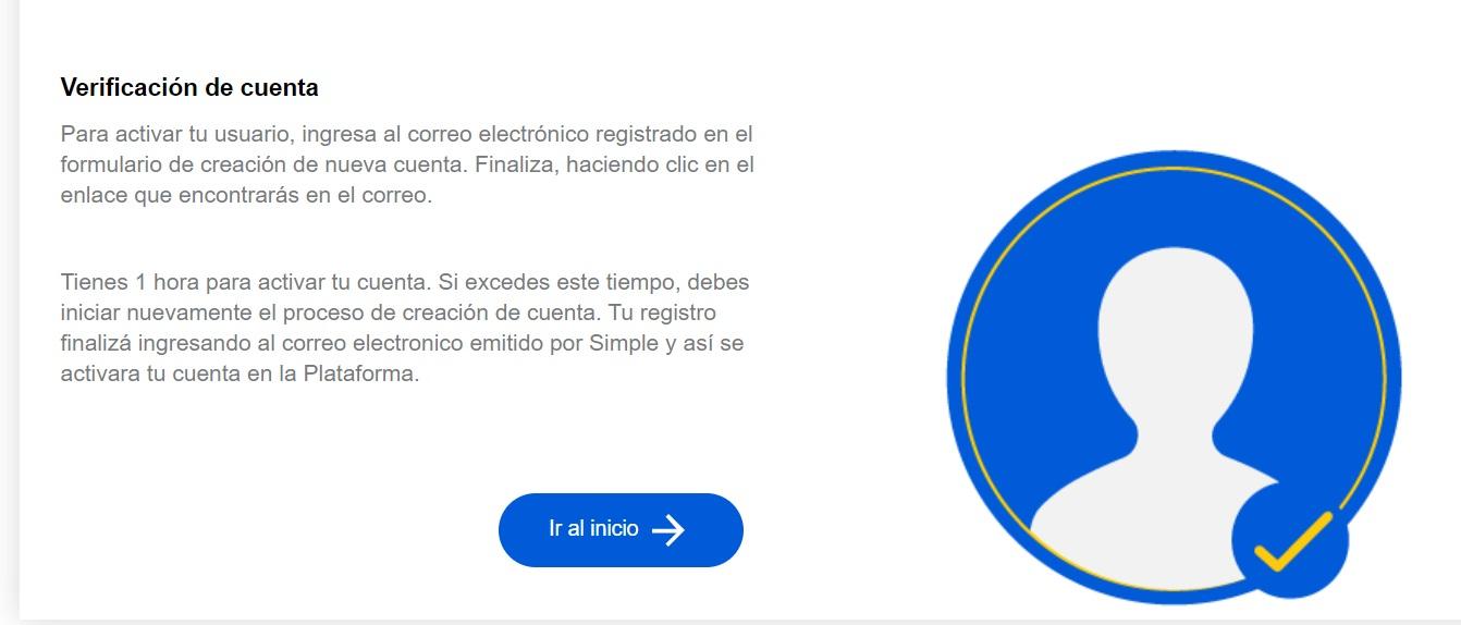 verificación de la cuenta pago simple