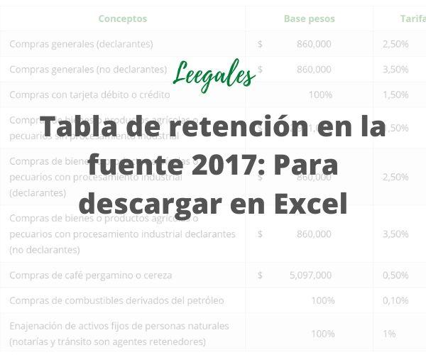 tabla de retención en la fuente para el año 2017