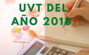 Valor del UVT del año 2018