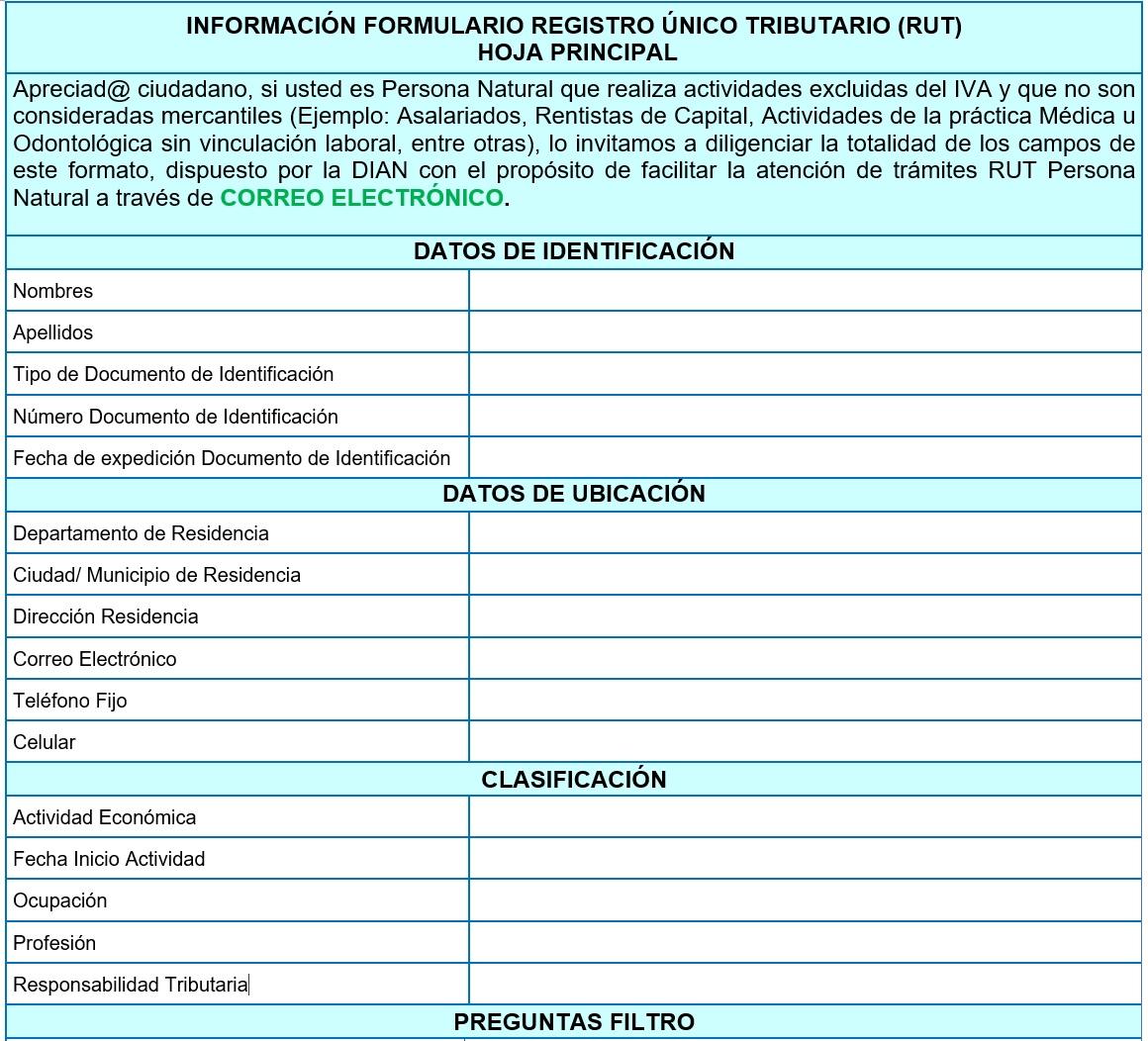 formulario inscripción RUT