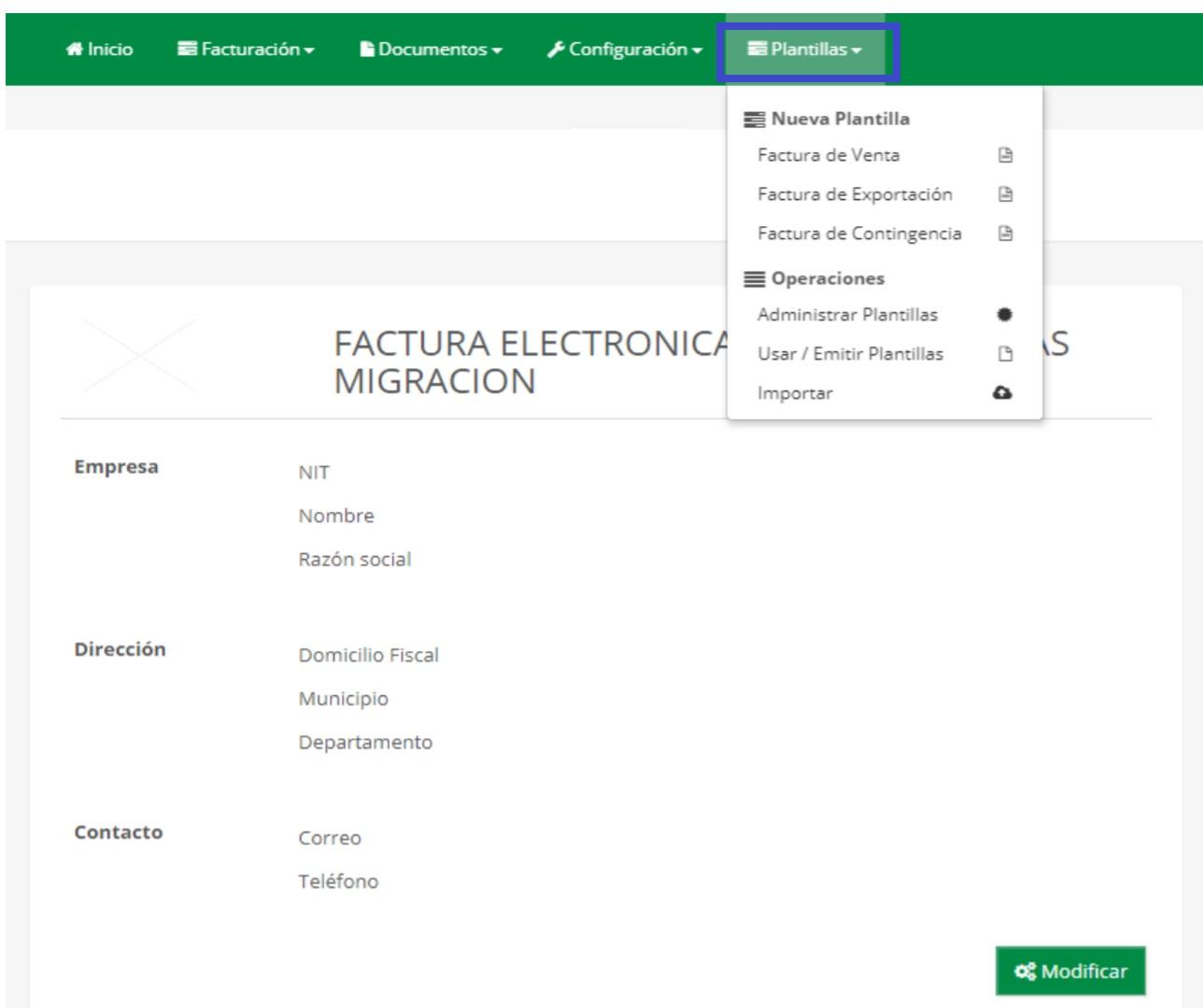 plantillas de facturación electrónica gratuita