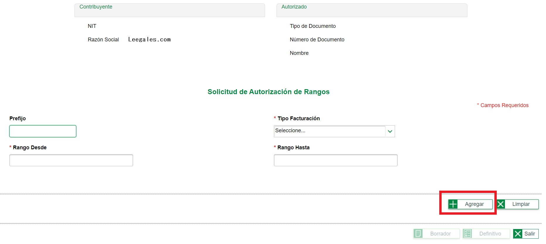 solicitud rangos de numeracion documento soporte