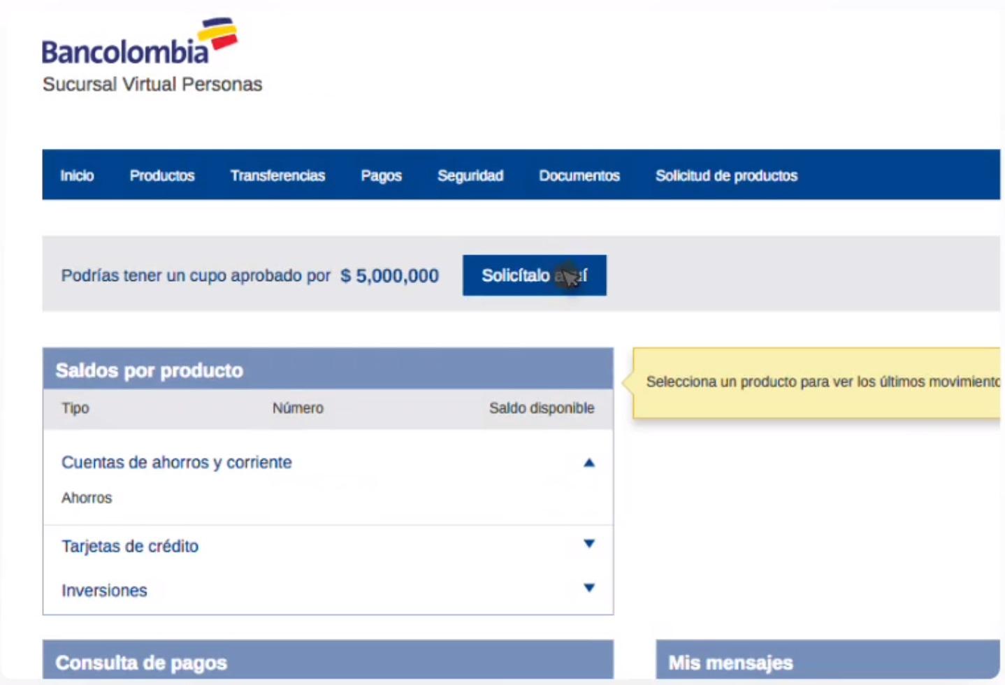 solicitar tarjeta de crédito por medio de la sucursal bancolombia