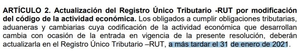 artículo 2 resolución 000114