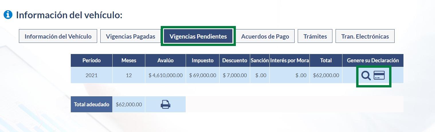 impuesto de vehicular de caldas